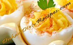 Dukan Delicious Deviled Eggs Dukan Diet Recipes, Healthy Recipes, Protein Rich Foods, Deviled Eggs, Macaroni And Cheese, Healthy Eating, Vegan, My Favorite Things, Ethnic Recipes