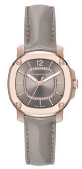 Burberry Britain Diamond, 18K Rose Goldplated Stainless Steel & Patent Leather Strap Watch