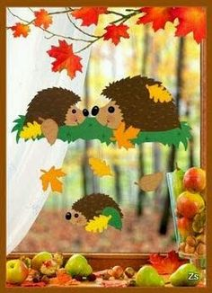 Risultati immagini per herbst paper craft Autumn Crafts, Autumn Art, Christmas Crafts For Kids, Simple Christmas, Decoration Creche, Class Decoration, School Decorations, Hedgehog Craft, Diy And Crafts