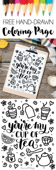 Cup of Tea Free Coloring Page. Brew a cup of your favorite hot tea to enjoy while you color this hand drawn coloring page. | dawnnicoledesigns.com
