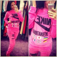 9f659428d4898  velour  sweatsuit  nike Stylish women s international pink velour sweatsuit