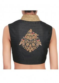 Black over-lapping blouse featured in silk, embellished with gold zardozi work only on Kalki