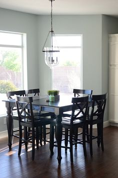 ❥ I really like the paint color.  Great contrast with table.  Paint color: Rainwashed by Sherwin Williams