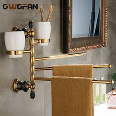 61.75$  Buy now - http://aliu2c.shopchina.info/go.php?t=32792360404 - New Luxury Movable Towel Bar With Double Cup Holder,Solid Brass Golden Towel Holder Gold Bath Towel Bar With Teeth Cups XL-66838 61.75$ #bestbuy