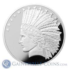 1 oz Solid Copper Art-Round BU Best Junk Drawer 1 Silver Shield Freedom Girl