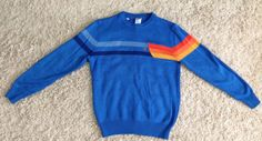 1970's OP Ocean Pacific Blue Rainbow Striped Long Sleeve Sweater Size Small Vintage Unisex Clothing by yourmamashouse on Etsy