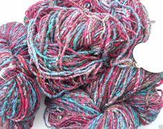 Noro Kogarashi Yarn Wool, Silk 3 skeins Color 8 Red, Blue, Green #Noro #HandDyed