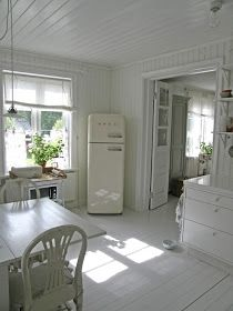 SMEG frig, unlined linen shades & painted wood on floors, ceiling and walls. BellaRusticaDesign.com