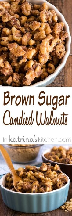 These Brown Sugar Candied Walnuts are perfect for topping sweets, salads, and more! Easy Appetizer Recipes, Easy Snacks, Snack Recipes, Easy Meals, Cooking Recipes, Candy Recipes, Healthy Recipes, Holiday Appetizers, Appetizers For Party