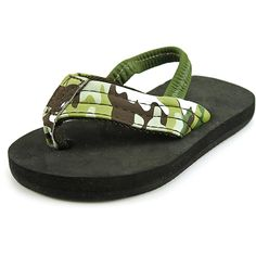 Rainbow Sandals Grombows Kids Green Camo Strap Black Soft Tops (7/8) * Additional details at the pin image, click it  - Flip flops
