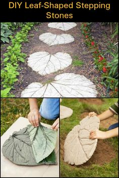 Make these DIY leaf-shaped stepping stones for you garden!
