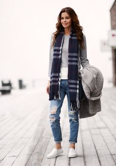 {Plaid scarf with weekend neutrals.}