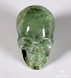 ☆ Prenite Crystal Skull :→: This is a stone of unconditional love ~ It is said to connect to the archangel Raphael. Prehnite enhances inner knowledge, showing the path forward to spiritual growth through attunement to divine energy. Prehnite connects the will and the heart. In so doing one's actions attain the highest good. Wear prehnite to strengthen your intuition and recognize truths.。☆