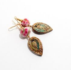 Rose Glass Bead Earrings. Rustic Clay Leaf Charms. Boho Rustic Lampwork Jewelry.