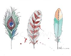 3 Bird Feathers Watercolour Zentangle Art by CloudsofColourShop, $25.00