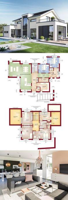 Modern design - Haus Concept M 154 Bien Zenker - Detached house with saddle Sims House Plans, Dream House Plans, Modern House Plans, Modern House Design, House Floor Plans, Building Design, Building A House, Casas The Sims 4, House Blueprints