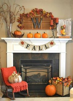 Unusual Fall Home Decor Ideas For Mantel Festive fall mantel décor can really turn your house into a home. Whether you're in the mood for classic and timeless fall mantel ideas or something more chic and modern Decoration Inspiration, Decor Ideas, Diy Ideas, Fall Mantel Decorations, Mantel Ideas, Wedding Decorations, Fall Fireplace Decor, Fireplace Ideas, Fireplace Mantles