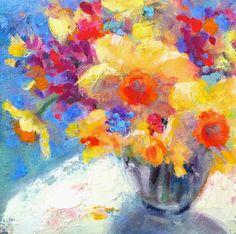 "Original Oil Painting by Tina Wassel Keck, ""Daffodil Daze"""