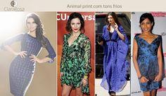 O animal print está com tudo nessa temporada! Veja que lindo o vestido azul e inspire-se!