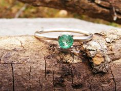 Natural 4mm Emerald Solitare in Sterling by GoldiesNaturalGems, $25.00