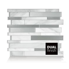 "Mosaik Maheshwari Carrera Dual Finish 11.55"" x 9.63"" Peel & Stick Mosaic Tile in White and Gray"