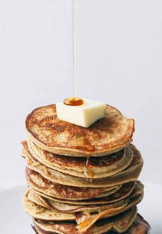 Two Ingredient Healthy Pancakes 3-4 tbl mashed Banana and 1 Egg. You can an add baking powder and/or peanut flour and nuts/spices