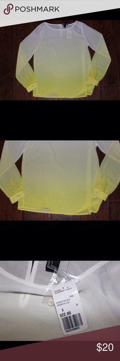 Long Sleeve Blouse White & Yellow long sleeve Shirt. Forever 21 Tops Blouses