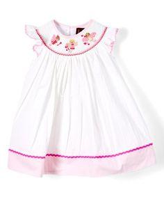 Loving this Ivory & Pink Fairy Smocked Bishop Dress - Infant, Toddler & Girls on #zulily! #zulilyfinds