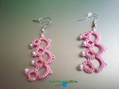 Check out this item in my Etsy shop https://www.etsy.com/listing/209978481/needle-tatted-crochet-pink-earrings-with