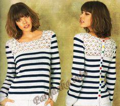 Пуловер-матроска (ж) 24*88 Phildar №3609