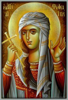 Photini by Eleni Dadi Byzantine Icons, Byzantine Art, Religious Icons, Religious Art, Famous Freemasons, Orthodox Catholic, Roman Church, Paint Icon, Russian Icons