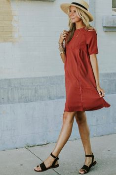 Short Sleeve Red Dress With Pockets   ROOLEE