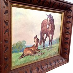 HORSES vintage framed print 1960's by VintageCommon on Etsy
