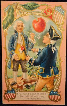 Antique Postcard George Washington Birthday Cherry Tree Pipe | eBay