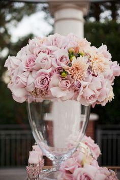 lovely lavender soft pink rose centerpiece