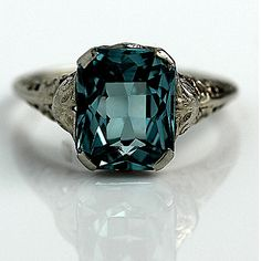 Antique 10 Kt Blue Zircon Emerald Cut Engagement Ring Circa Early 1900's #weddings