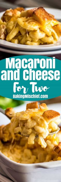 This Deluxe Mac and Cheese for Two is quick and easy to throw together and makes the perfect vegetarian meal for two or side for three or four. | #RecipesForTwo | #EasyMeals | #Pasta |