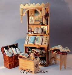 "EV Miniatures Found this; it is a mini medieval scribal desk 1""/12"" scale"