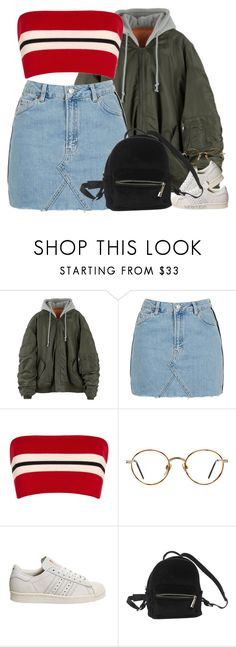 """""""It's a New Day   IV   XVII   XVIII"""" by kahla-robyn ❤ liked on Polyvore featuring Topshop, Etienne Deroeux, GlassesUSA, adidas and Urban Outfitters"""