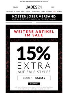 Hi Peter, WEITERE ARTIKEL IM SALE  &  15% EXTRA auf alle Sale-Styles