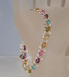 Rainbow Silver Helm Chain Design Chain Maille by ArtisticTouches, $24.00
