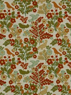 Bird Upholstery Fabric - Modern Orange Woven Upholstery Yardage - Home Decor Orange - Green Yellow Floral Fabric - Furniture Material