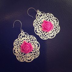Large Bohemian Painted Lace Pink Rose Earrings Brand new, large painted lace earrings with hot pink rose in the center. Earrings measure a little over 1.5 inches from hook. Vintage style with a bohemian twist. Posh Adornments Jewelry Earrings
