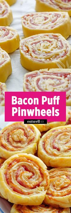 Bacon Puff Pinwheels – Warm, soft and just all around delicious, these Golden bacon and cheddar pinwheels are sure to be a hit at your next party. Best Appetizer Recipes, Quick Appetizers, Finger Food Appetizers, Appetizers For Party, Brunch Recipes, Finger Foods, Bacon Appetizers, Party Nibbles, Quiche Recipes