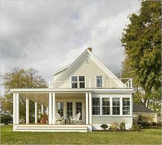 2007 Boston Globe Magazine Home of the Year. The gable end shows the porch, sunroom, and second-story deck. Porch House Plans, Cottage House Plans, Bedroom House Plans, House Floor Plans, Cute Cottage, French Cottage, Small Farmhouse Plans, Modern Farmhouse, New England Homes