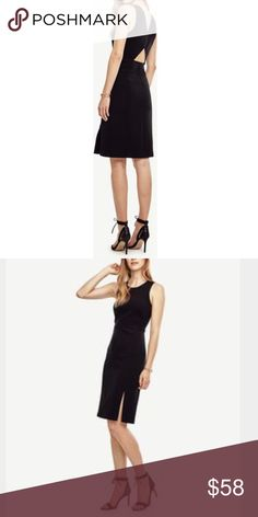 Ann Taylor Dress Like-new Ann Taylor Dress featuring delicate piping for a flattering silhouette, a triangle cut-out at the back, and a flirty slit in front. Size 0. Size-zip closure. Retail $148. Ann Taylor Dresses