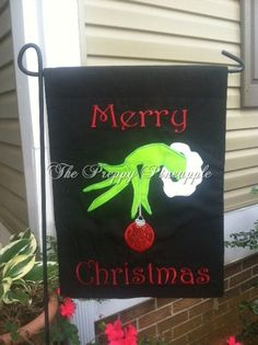 Grinch Christmas Garden Flag (single sided) on Etsy, $22.00
