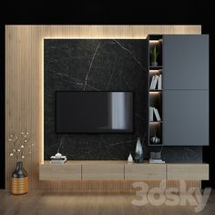 3d models: TV Wall - TV shelf 27 Modern Tv Room, Modern Tv Wall Units, Tv Wall Decor, Wall Tv, Home Room Design, House Design, Salons Cosy, Showroom Interior Design, Small Apartment Interior