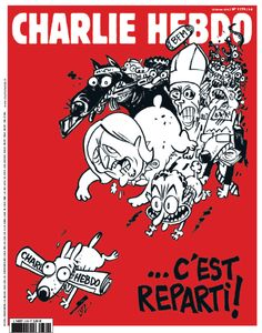 """Here we go again!"" On a new ""Charlie"" ISABELLE HANNE  2/23/15 A dog scampers a Charlie Hebdo rolled into the mouth. At his heels, a pack of pooches hostile, that Sarkozy's features, Marine Le Pen, a jihadist, a pope with his miter, a boss, dollars between the teeth. In the crush on bright red background is a micro BFM TV. ""... Here we go again!"" proclaims the headline in capital letters."