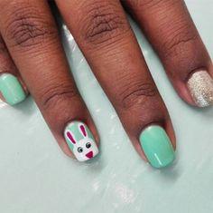 Bunny Nails, Easter Nail Art, Pop Photos, Accent Nails, Nail Polish Colors, Spring Nails, Color Pop, Manicure, Sparkle